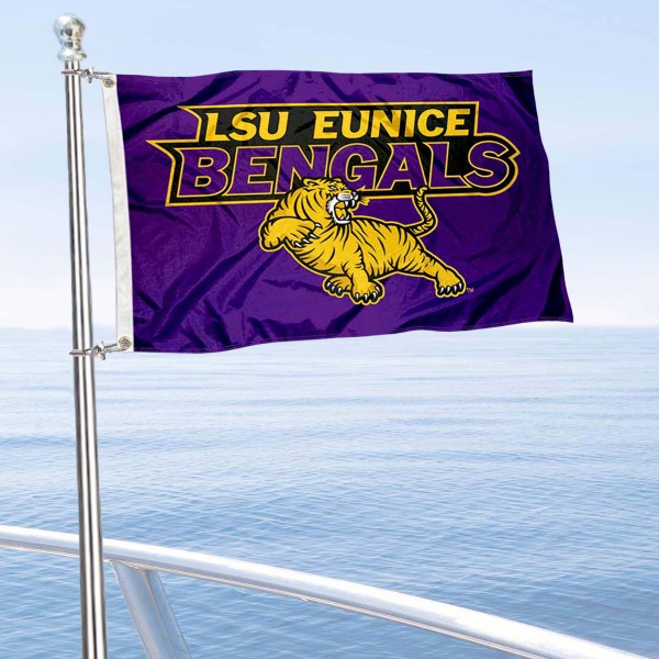 LSU Eunice Boat and Mini Flag is 12x18 inches, polyester, offers quadruple stitched flyends for durability, has two metal grommets, and is double sided. Our mini flags for Louisiana State University Eunice are licensed by the university and NCAA and can be used as a boat flag, motorcycle flag, golf cart flag, or ATV flag.