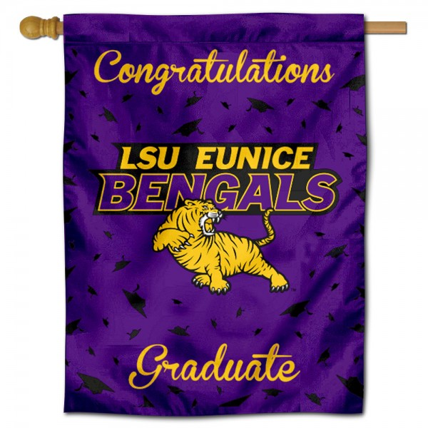 LSU Eunice Congratulations Graduate Flag measures 30x40 inches, is made of poly, has a top hanging sleeve, and offers dye sublimated LSU Eunice logos. This Decorative LSU Eunice Congratulations Graduate House Flag is officially licensed by the NCAA.