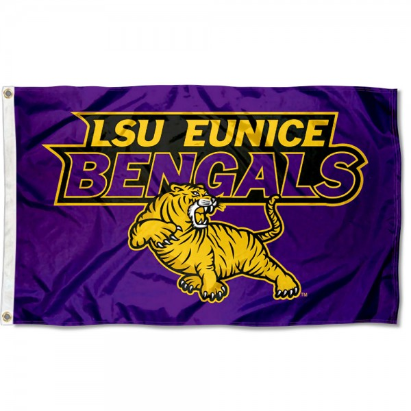 LSU Eunice Flag measures 3x5 feet, is made of 100% polyester, offers quadruple stitched flyends, has two metal grommets, and offers screen printed NCAA team logos and insignias. Our LSU Eunice Flag is officially licensed by the selected university and NCAA.