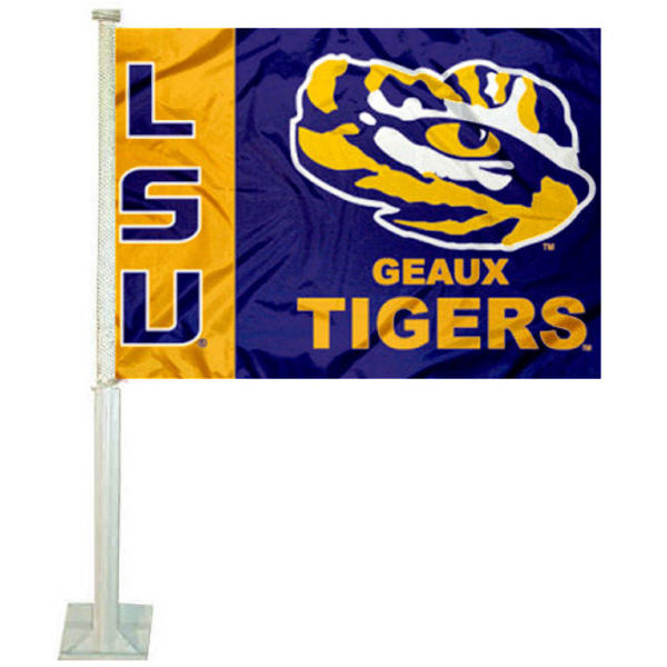 LSU Geaux Car Flag measures 12x15 inches, is constructed of sturdy 2 ply polyester, and has dye sublimated school logos which are readable and viewable correctly on both sides. LSU Geaux Car Flag is officially licensed by the NCAA and selected university