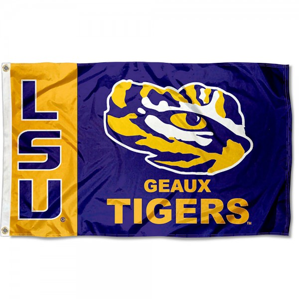 LSU Geaux Flag measures 3'x5', is made of 100% poly, has quadruple stitched sewing, two metal grommets, and has double sided LSU Tigers logos. Our LSU Geaux Flag is officially licensed by the selected university and the NCAA.