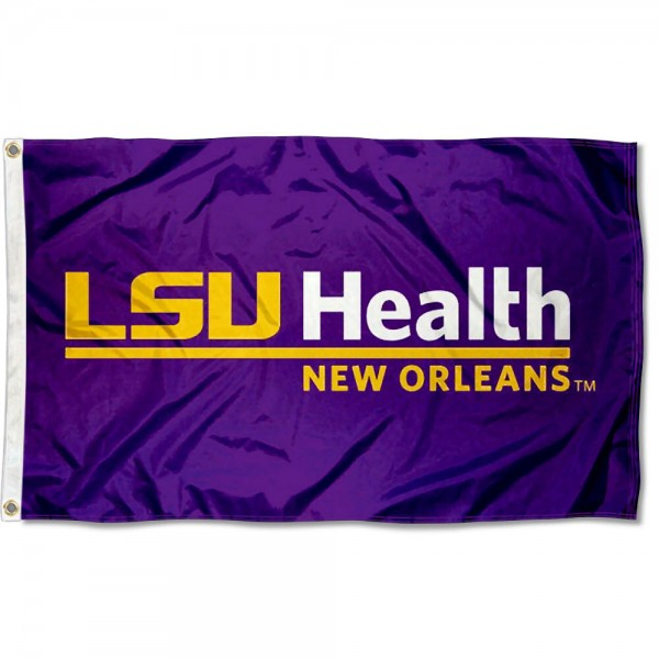 LSU Health New Orleans Flag measures 3'x5', is made of 100% poly, has quadruple stitched sewing, two metal grommets, and has double sided Team University logos. Our LSU Health New Orleans 3x5 Flag is officially licensed by the selected university and the NCAA.