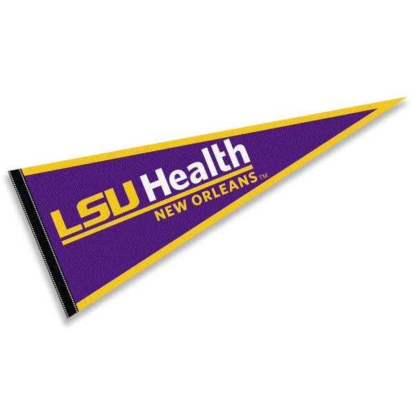LSU Health New Orleans Pennant consists of our full size sports pennant which measures 12x30 inches, is constructed of felt, is single sided imprinted, and offers a pennant sleeve for insertion of a pennant stick, if desired. This LSU Health New Orleans Pennant Decorations is Officially Licensed by the selected university and the NCAA.