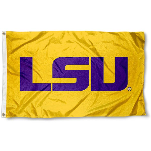 LSU Large Gold Flag measures 3'x5', is made of 100% poly, has quadruple stitched sewing, two metal grommets, and has double sided Team University logos. Our LSU Large Gold Flag is officially licensed by the selected university and the NCAA.
