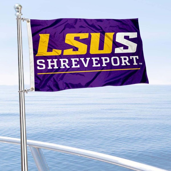 LSU Shreveport Boat and Mini Flag is 12x18 inches, polyester, offers quadruple stitched flyends for durability, has two metal grommets, and is double sided. Our mini flags for Louisiana State University Shreveport are licensed by the university and NCAA and can be used as a boat flag, motorcycle flag, golf cart flag, or ATV flag.