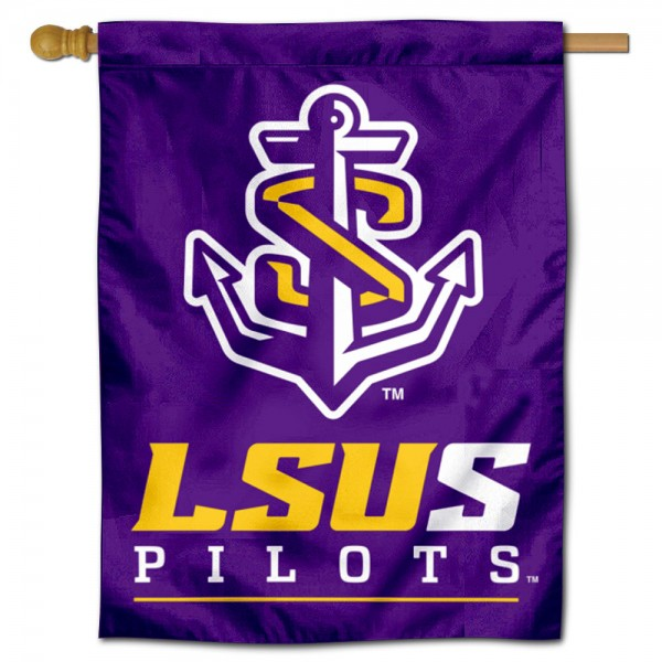 LSU Shreveport Double Sided House Flag is a vertical house flag which measures 30x40 inches, is made of 2 ply 100% polyester, offers screen printed NCAA team insignias, and has a top pole sleeve to hang vertically. Our LSU Shreveport Double Sided House Flag is officially licensed by the selected university and the NCAA.