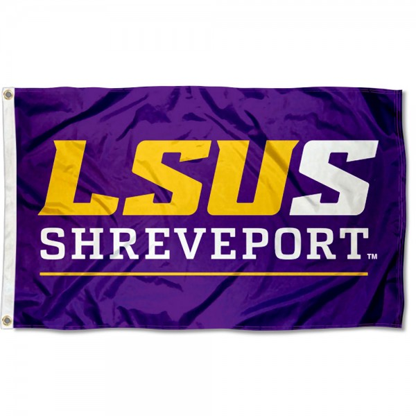 LSU Shreveport Flag measures 3x5 feet, is made of 100% polyester, offers quadruple stitched flyends, has two metal grommets, and offers screen printed NCAA team logos and insignias. Our LSU Shreveport Flag is officially licensed by the selected university and NCAA.