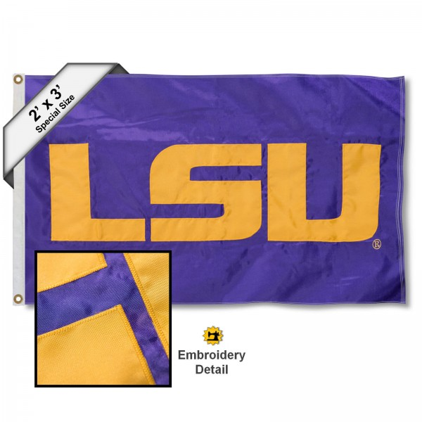 LSU Small 2'x3' Flag measures 2x3 feet, is made of 100% nylon, offers quadruple stitched flyends, has two brass grommets, and offers embroidered LSU Tiger logos and insignias. Our LSU Small 2'x3' Flag is officially licensed by the selected university.