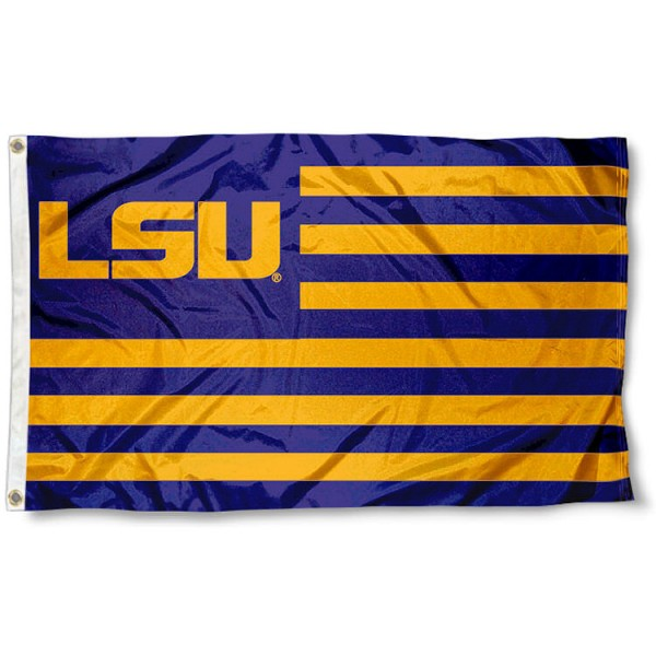 LSU Striped Flag measures 3'x5', is made of polyester, offers quadruple stitched flyends for durability, has two metal grommets, and is viewable from both sides with a reverse image on the opposite side. Our LSU Striped Flag is officially licensed by the selected school university and the NCAA