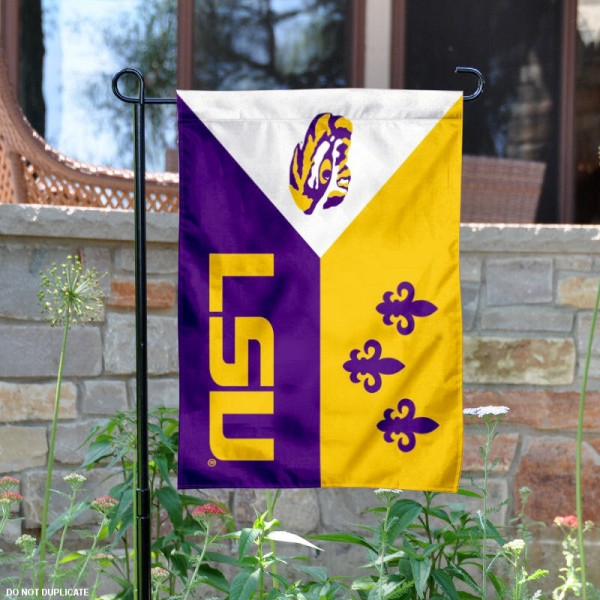 LSU Tiger Acadian Logo Garden Flag is 13x18 inches in size, is made of 2-layer polyester, screen printed LSU Tiger Acadian athletic logos and lettering. Available with Same Day Express Shipping, Our LSU Tiger Acadian Logo Garden Flag is officially licensed and approved by LSU Tiger Acadian and the NCAA.