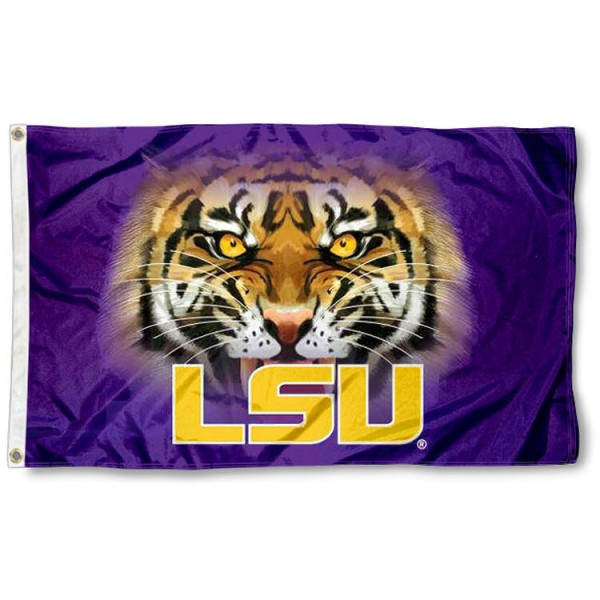 LSU Tiger Eye Flag measures 3'x5', is made of 100% poly, has quadruple stitched sewing, two metal grommets, and has double sided Team University logos. Our Louisiana State Tigers 3x5 Flag is officially licensed by the selected university and the NCAA.