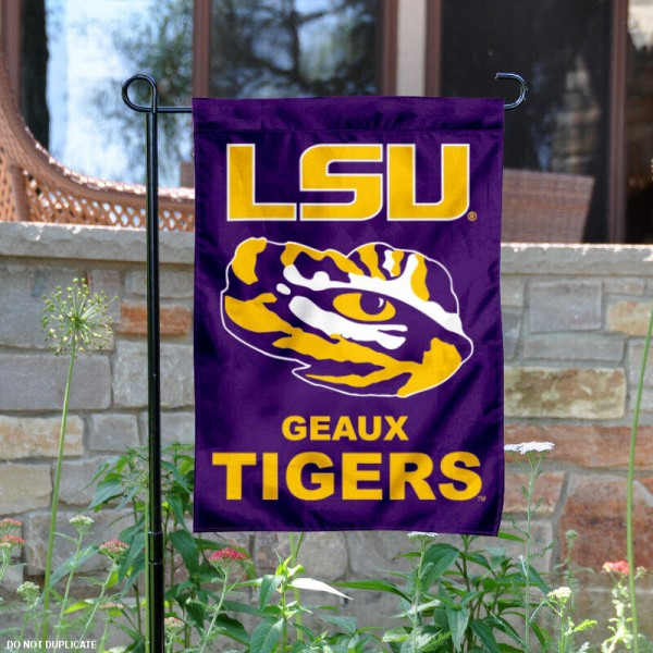 LSU Tiger Eye Garden Flag is 13x18 inches in size, is made of 2-layer polyester, screen printed Louisiana State University athletic logos and lettering. Available with Same Day Express Shipping, Our LSU Tiger Eye Garden Flag is officially licensed and approved by Louisiana State University and the NCAA.