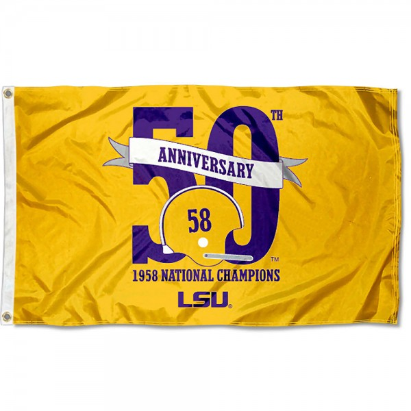 LSU Tigers 1958 National Champions Flag measures 3'x5', is made of 100% poly, has quadruple stitched sewing, two metal grommets, and has double sided Team University logos. Our LSU Tigers 1958 National Champions Flag is officially licensed by the selected university and the NCAA.