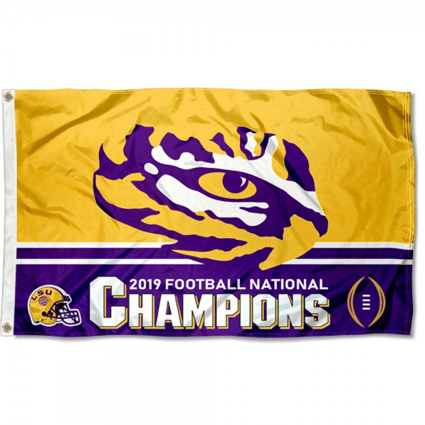 LSU Tigers 2019 2020 College National Champions Flag measures 3x5 feet, is made of 100% polyester, offers quadruple stitched flyends, has two metal grommets, and offers screen printed NCAA team logos and insignias. Our LSU Tigers 2019 2020 College National Champions Flag is officially licensed by the selected university and NCAA.