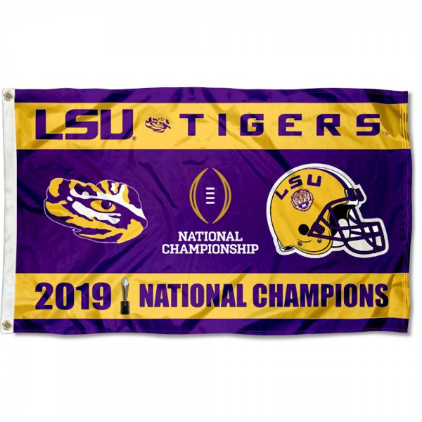 LSU Tigers 2019 2020 National Football Champions Flag measures 3x5 feet, is made of 100% polyester, offers quadruple stitched flyends, has two metal grommets, and offers screen printed NCAA team logos and insignias. Our LSU Tigers 2019 2020 National Football Champions Flag is officially licensed by the selected university and NCAA.