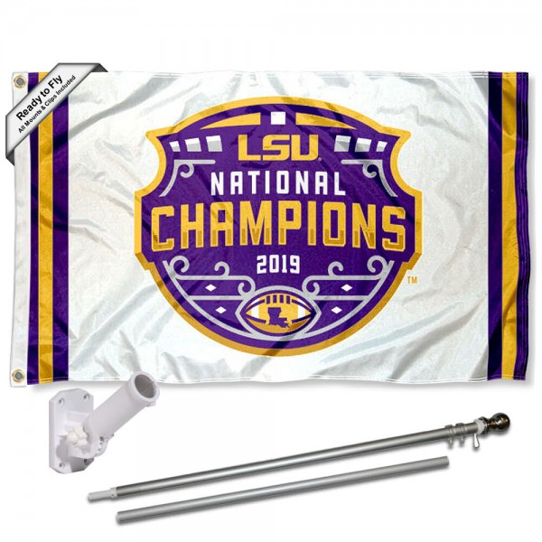 Our LSU Tigers 2019 Football National Champions Flag Pole and Bracket Kit includes the flag as shown and the recommended flagpole and flag bracket. The flag is made of polyester, has quad-stitched flyends, and the NCAA Licensed team logos are double sided screen printed. The flagpole and bracket are made of rust proof aluminum and includes all hardware so this kit is ready to install and fly.