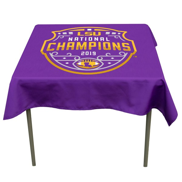 LSU Tigers 2019 National Football Championship Table Cloth measures 48 x 48 inches, is made of 100% Polyester, seamless one-piece construction, and is perfect for any tailgating table, card table, or wedding table overlay. Each includes Officially Licensed Logos and Insignias.