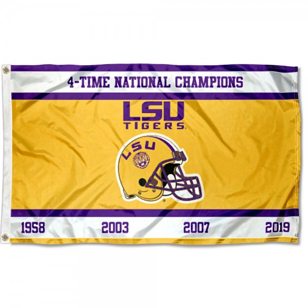 LSU Tigers 4 Time Football Champions Flag measures 3x5 feet, is made of 100% polyester, offers quadruple stitched flyends, has two metal grommets, and offers screen printed NCAA team logos and insignias. Our LSU Tigers 4 Time Football Champions Flag is officially licensed by the selected university and NCAA.