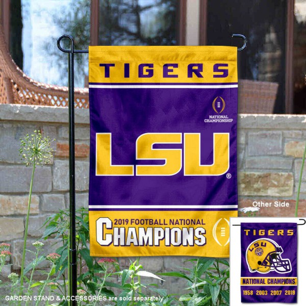LSU Tigers 4 Time Football Champions Garden Flag is 13x18 inches in size, is made of 2-layer polyester, screen printed university athletic logos and lettering, and is readable and viewable correctly on both sides. Available same day shipping, our LSU Tigers 4 Time Football Champions Garden Flag is officially licensed and approved by the university and the NCAA.