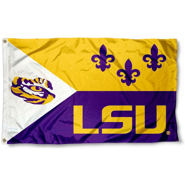LSU Tigers Acadian Flag measures 3'x5', is made of 100% poly, has quadruple stitched sewing, two metal grommets, and has double sided Louisiana State Tigers logos. Our LSU Tigers Acadian Flag is officially licensed by Louisiana State Tigers and the NCAA.