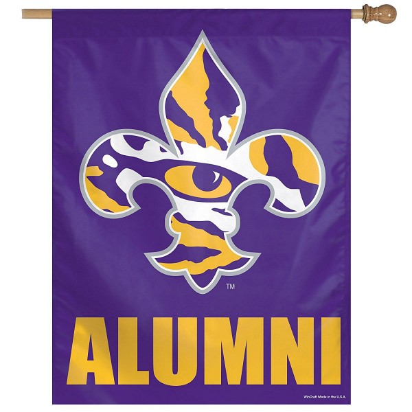 LSU Tigers Alumni House Flag is constructed of polyester material, is a vertical house flag, measures 27x37 inches, offers screen printed NCAA team insignias, and has a top pole sleeve to hang vertically. Our LSU Tigers Alumni House Flag is officially licensed by the selected university and NCAA.