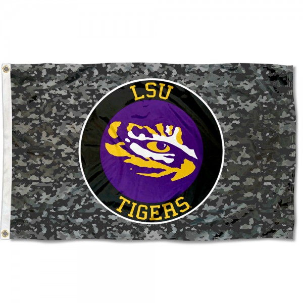 LSU Tigers Camo Flag measures 3x5 feet, is made of 100% polyester, offers quadruple stitched flyends, has two metal grommets, and offers screen printed NCAA team logos and insignias. Our LSU Tigers Camo Flag is officially licensed by the selected university and NCAA.