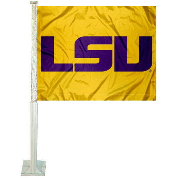 LSU Tigers Car Window Flag measures 12x15 inches, is constructed of sturdy 2 ply polyester, and has screen printed school logos which are readable and viewable correctly on both sides. LSU Tigers Car Window Flag is officially licensed by the NCAA and selected university.