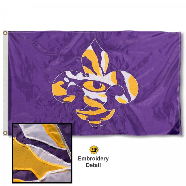 LSU Tigers Fleur Nylon Embroidered Flag measures 3'x5', is made of 100% nylon, has quadruple flyends, two metal grommets, and has double sided appliqued and embroidered University logos. These LSU Tigers Fleur 3x5 Flags are officially licensed by the selected university and the NCAA.