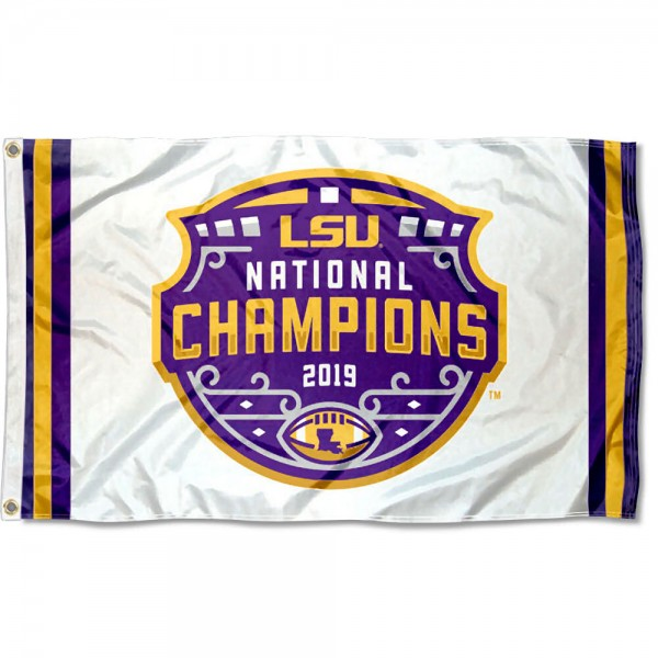 LSU Tigers Football 2019 National Champions Flag measures 3x5 feet, is made of 100% polyester, offers quadruple stitched flyends, has two metal grommets, and offers screen printed NCAA team logos and insignias. Our LSU Tigers Football 2019 National Champions Flag is officially licensed by the selected university and NCAA.