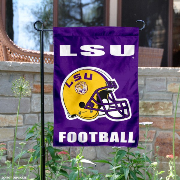 LSU Tigers Football Helmet Garden Banner is 13x18 inches in size, is made of 2-layer polyester, screen printed Louisiana State University athletic logos and lettering. Available with Same Day Express Shipping, Our LSU Tigers Football Helmet Garden Banner is officially licensed and approved by Louisiana State University and the NCAA.