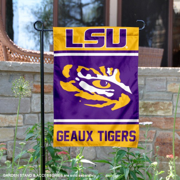 LSU Tigers Garden Flag is 13x18 inches in size, is made of 2-layer polyester, screen printed logos and lettering. Available with Same Day Express Shipping, Our LSU Tigers Garden Flag is officially licensed and approved by the NCAA.