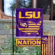 LSU Tigers Garden Flag with USA Country Stars and Stripes