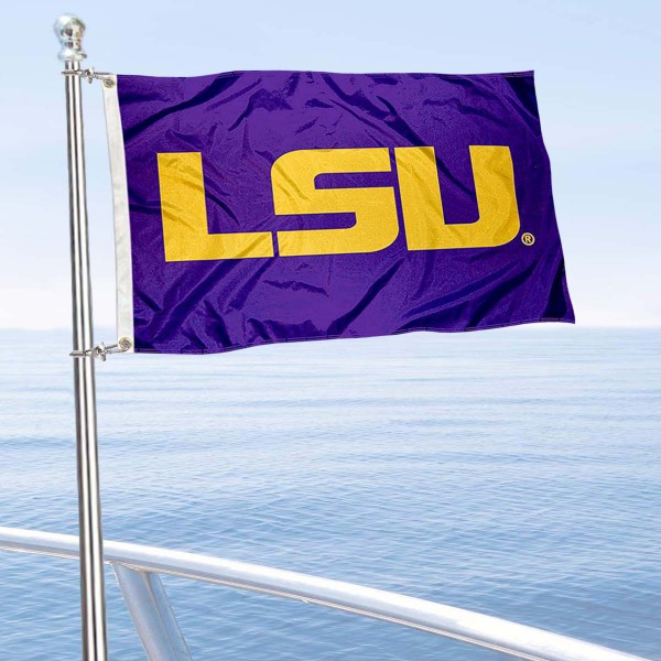 LSU Tigers Golf Cart Flag is a small 12x18 inches, made of 2-ply polyester with quad stitched flyends, and is double-sided. Our Golf Cart Logo Flags are Officially Licensed and Approved by LSU and NCAA.