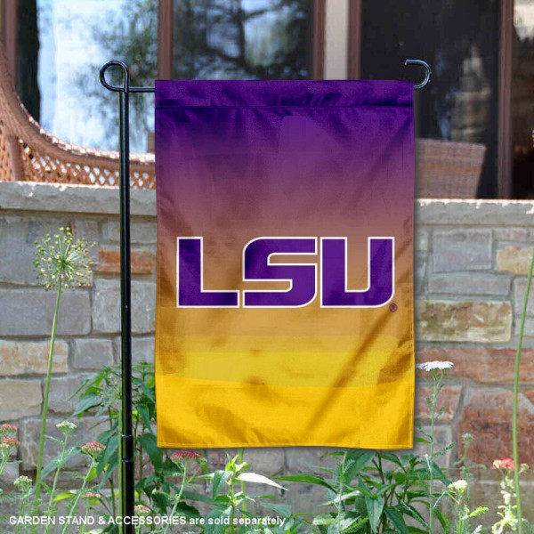 LSU Tigers Gradient Ombre Logo Garden Flag is 13x18 inches in size, is made of thick blockout polyester, screen printed university athletic logos and lettering, and is readable and viewable correctly on both sides. Available same day shipping, our LSU Tigers Gradient Ombre Logo Garden Flag is officially licensed and approved by the university and the NCAA.