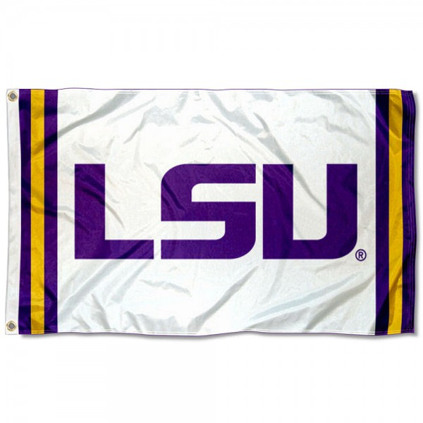 LSU Tigers Jersey Stripes Flag measures 3x5 feet, is made of 100% polyester, offers quadruple stitched flyends, has two metal grommets, and offers screen printed NCAA team logos and insignias. Our LSU Tigers Jersey Stripes Flag is officially licensed by the selected university and NCAA.