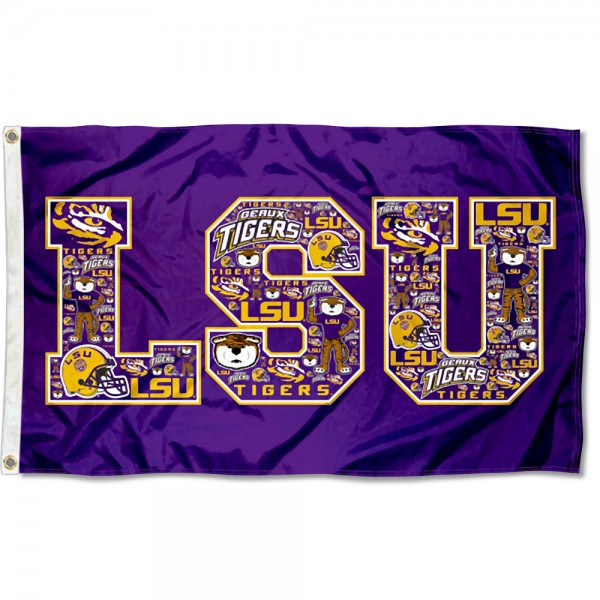 LSU Tigers Mosaic Logo Flag measures 3x5 feet, is made of 100% polyester, offers quadruple stitched flyends, has two metal grommets, and offers screen printed NCAA team logos and insignias. Our LSU Tigers Mosaic Logo Flag is officially licensed by the selected university and NCAA.