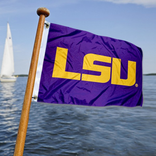 LSU Tigers Nautical Flag measures 12x18 inches, is made of two-ply polyesters, offers quadruple stitched flyends for durability, has two metal grommets, and is viewable from both sides. Our LSU Tigers Nautical Flag is officially licensed by the selected university and the NCAA and can be used as a motorcycle flag, golf cart flag, or ATV flag