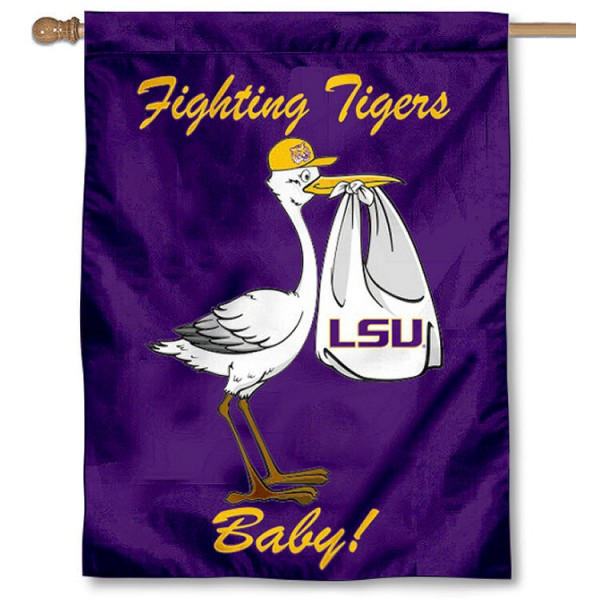 LSU Tigers New Baby Flag measures 30x40 inches, is made of poly, has a top hanging sleeve, and offers dye sublimated LSU Tigers University logos. This Decorative LSU Tigers House Flag is officially licensed by the NCAA.