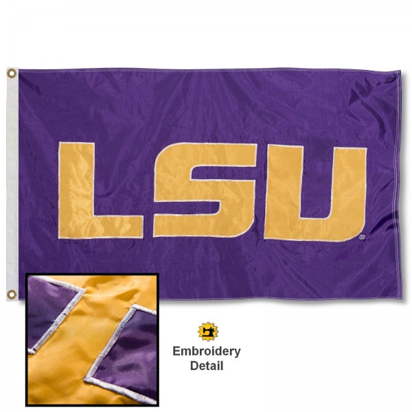 LSU Tigers Nylon Embroidered Flag measures 3'x5', is made of 100% nylon, has quadruple flyends, two metal grommets, and has double sided appliqued and embroidered University logos. These LSU Tigers 3x5 Flags are officially licensed by the selected university and the NCAA.