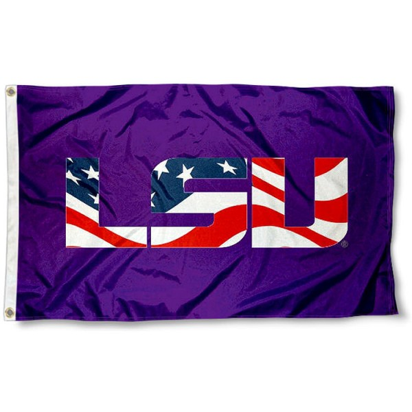 LSU Tigers Patriotic Flag measures 3x5 feet, is made of 100% polyester, offers quadruple stitched flyends, has two metal grommets, and offers screen printed NCAA team logos and insignias. Our LSU Tigers Patriotic Flag is officially licensed by the selected university and NCAA.