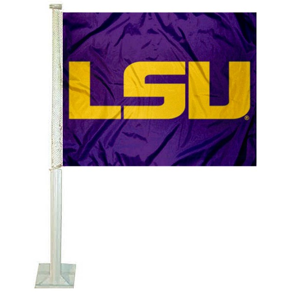 LSU Tigers Purple Car Window Flag measures 12x15 inches, is constructed of sturdy 2 ply polyester, and has screen printed school logos which are readable and viewable correctly on both sides. LSU Tigers Purple Car Window Flag is officially licensed by the NCAA and selected university.