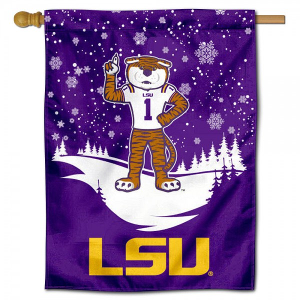 "LSU Tigers Snowflake House Flag is a double sided vertical house flag which measures 30"" x 40"" inches, is made of thick 100% polyester, offers screen printed NCAA team insignias, and has a top pole sleeve to hang vertically. Our LSU Tigers Snowflake House Flag is officially licensed by the selected university and the NCAA and is double sided."