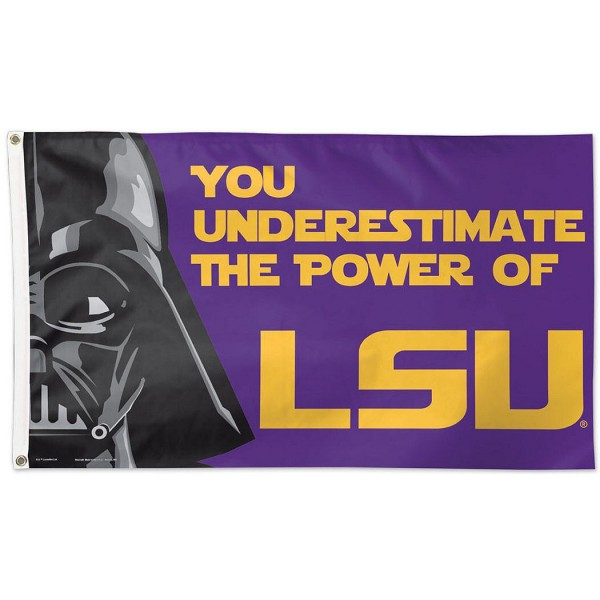 LSU Tigers Star Wars Flag measures 3'x5', is made of 100% poly, has quadruple stitched sewing, two metal grommets, and has double sided Team University logos. Our LSU Tigers Star Wars Flag is officially licensed by the selected university and the NCAA.