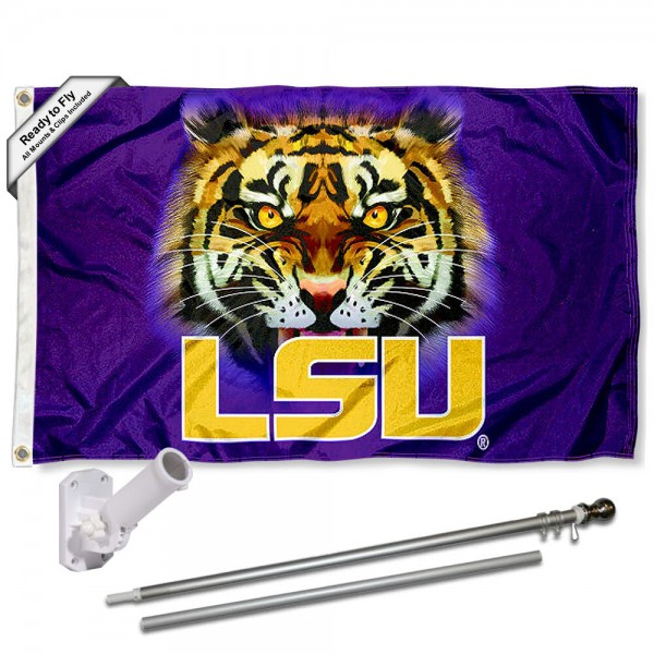 Our LSU Tigers Tiger Eyes Flag Pole and Bracket Kit includes the flag as shown and the recommended flagpole and flag bracket. The flag is made of polyester, has quad-stitched flyends, and the NCAA Licensed team logos are double sided screen printed. The flagpole and bracket are made of rust proof aluminum and includes all hardware so this kit is ready to install and fly.