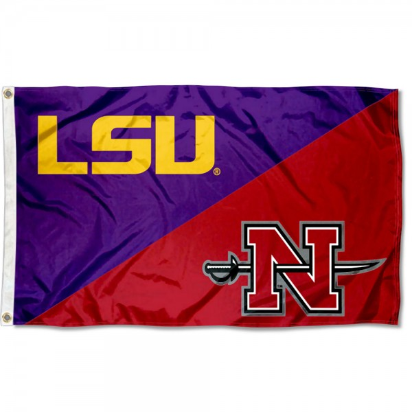 LSU Tigers vs Nicholls State Colonels House Divided 3x5 Flag sizes at 3x5 feet, is made of 100% polyester, has quadruple-stitched fly ends, and the university logos are screen printed into the LSU Tigers vs Nicholls State Colonels House Divided 3x5 Flag. The LSU Tigers vs Nicholls State Colonels House Divided 3x5 Flag is approved by the NCAA and the selected universities.