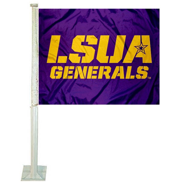LSUA Generals Logo Car Flag measures 12x15 inches, is constructed of sturdy 2 ply polyester, and has screen printed school logos which are readable and viewable correctly on both sides. LSUA Generals Logo Car Flag is officially licensed by the NCAA and selected university.