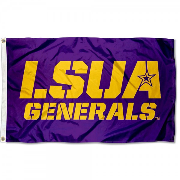 LSUA Generals Star A Flag measures 3x5 feet, is made of 100% polyester, offers quadruple stitched flyends, has two metal grommets, and offers screen printed NCAA team logos and insignias. Our LSUA Generals Star A Flag is officially licensed by the selected university and NCAA.