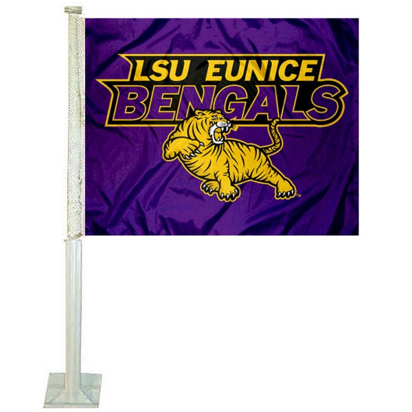 LSUE Bengals Logo Car Flag measures 12x15 inches, is constructed of sturdy 2 ply polyester, and has screen printed school logos which are readable and viewable correctly on both sides. LSUE Bengals Logo Car Flag is officially licensed by the NCAA and selected university.