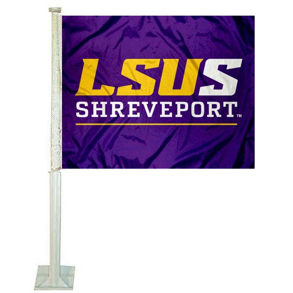 LSUS Pilots Logo Car Flag measures 12x15 inches, is constructed of sturdy 2 ply polyester, and has screen printed school logos which are readable and viewable correctly on both sides. LSUS Pilots Logo Car Flag is officially licensed by the NCAA and selected university.