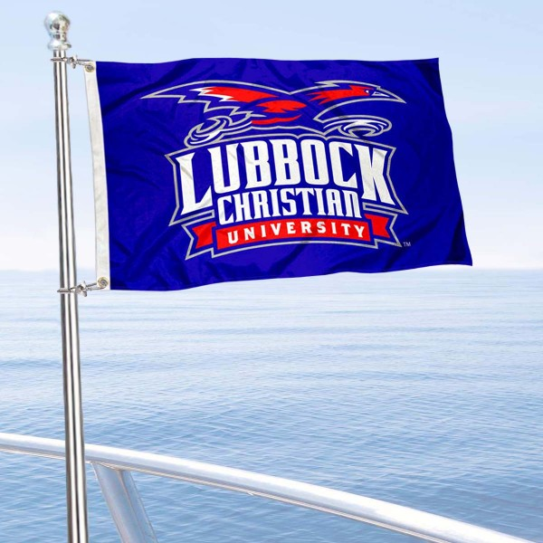 Lubbock Christian Chaparrals Boat and Mini Flag is 12x18 inches, polyester, offers quadruple stitched flyends for durability, has two metal grommets, and is double sided. Our mini flags for Lubbock Christian University are licensed by the university and NCAA and can be used as a boat flag, motorcycle flag, golf cart flag, or ATV flag.